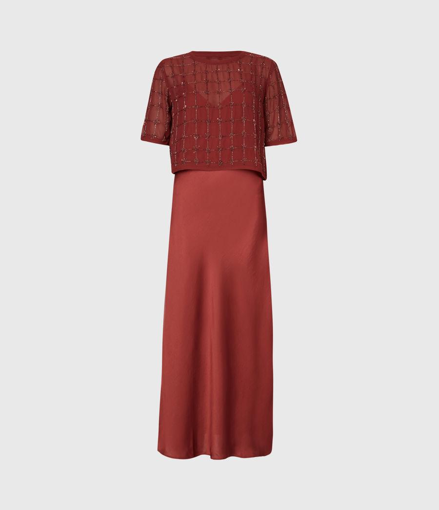 Women's Reille Grid 2-In-1 Dress (deep_cherry) - Image 2
