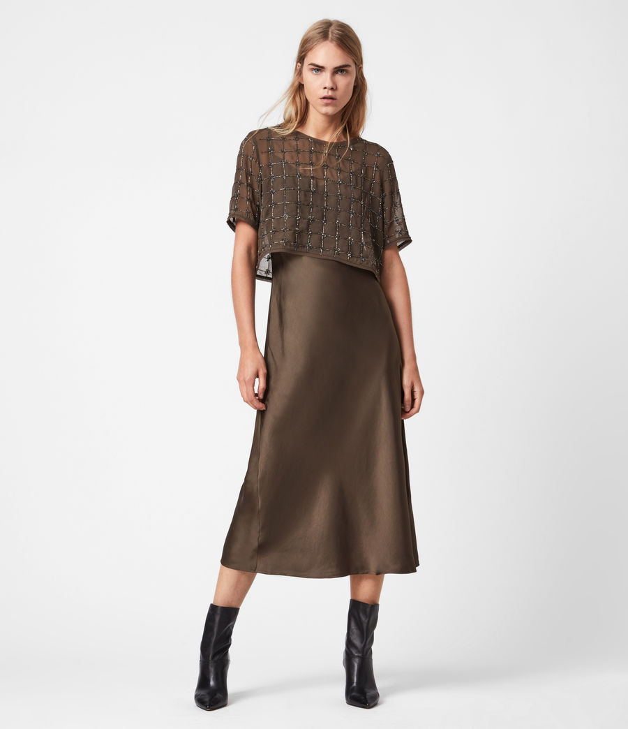 Womens Reille Grid 2-In-1 Dress (khaki_green) - Image 1