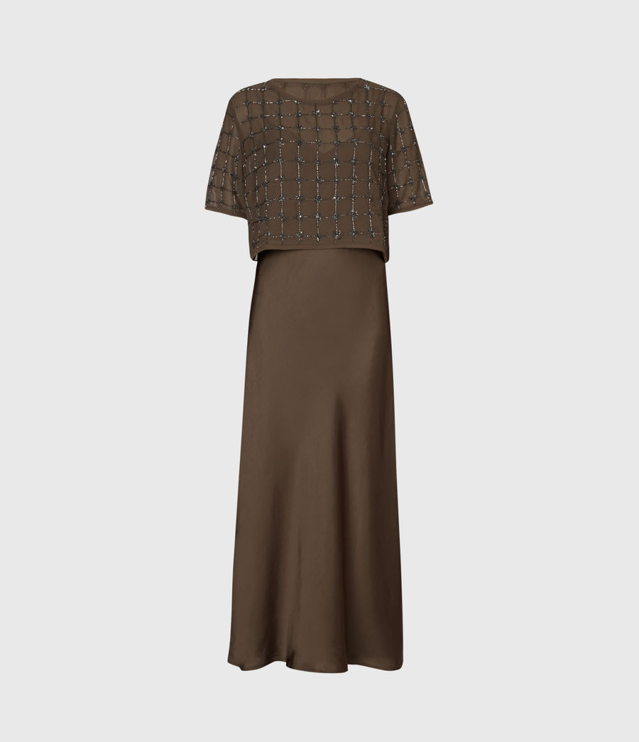 Womens Reille Grid 2-In-1 Dress (khaki_green) - Image 2