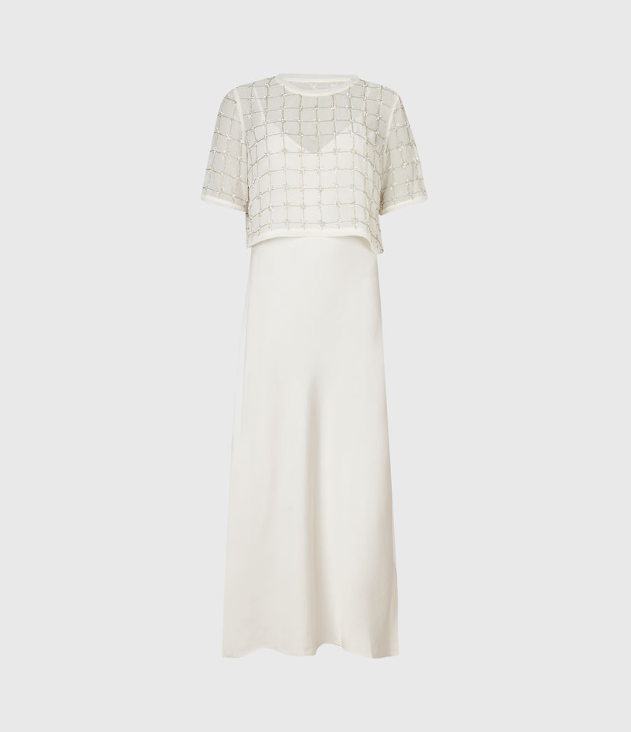 Womens Reille Grid 2-In-1 Dress (chalk_white) - Image 2