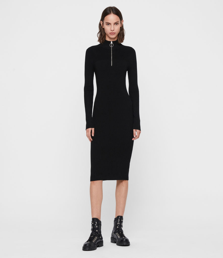 Women's Lacey Rib Dress (black) - Image 3