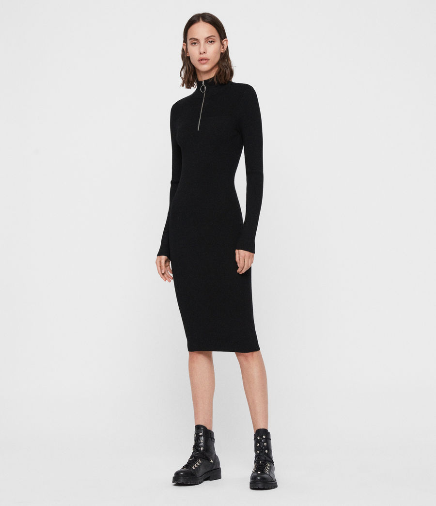 Women's Lacey Rib Dress (black) - Image 4