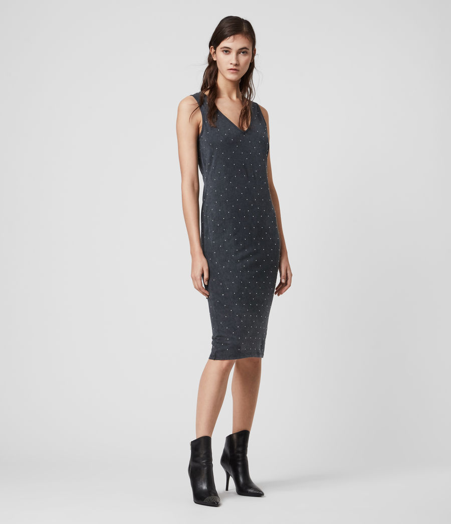 Mujer Leigh Stud Dress (acid_washed_black) - Image 3