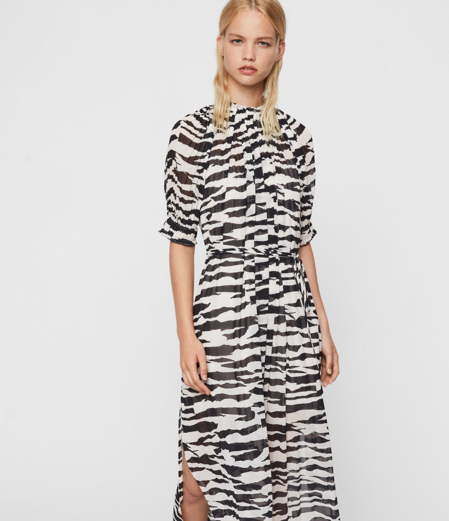 Womens Xena Long Zephyr Dress (ecru_white_black) - Image 4