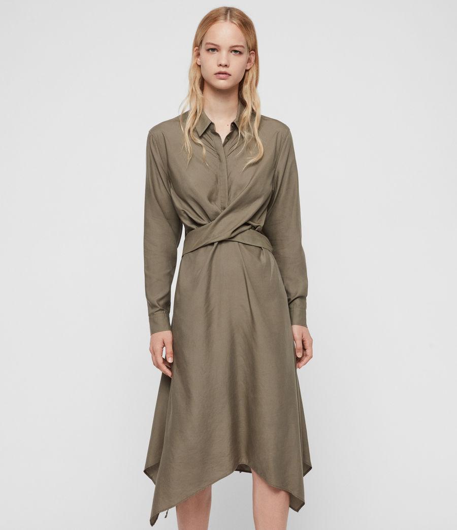 Womens Flyn Dress (khaki_green) - Image 1