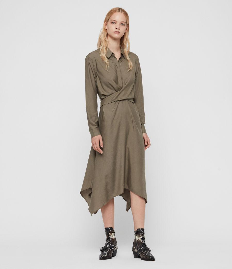 Womens Flyn Dress (khaki_green) - Image 3