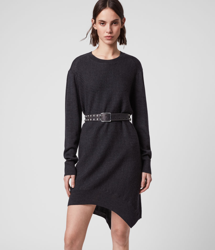 Womens Baya Merino Wool Dress (cinder_black_marl) - Image 1