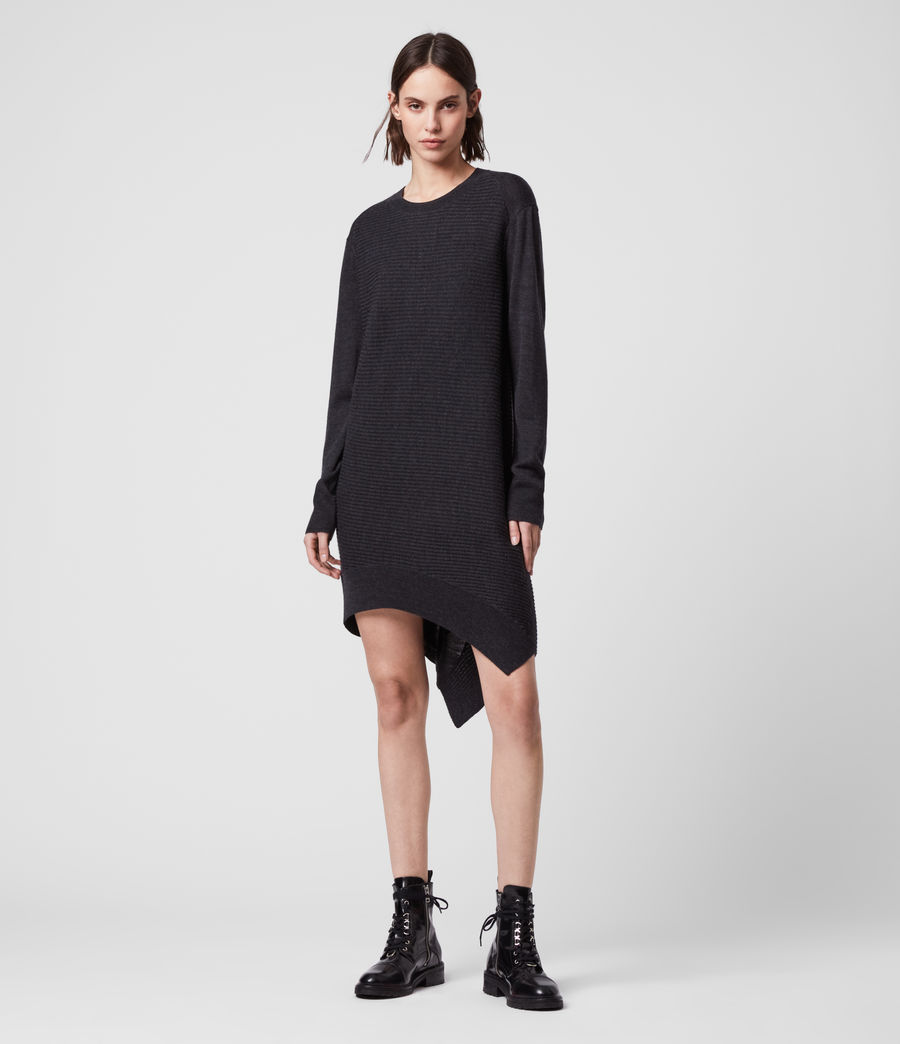 Womens Baya Merino Wool Dress (cinder_black_marl) - Image 3