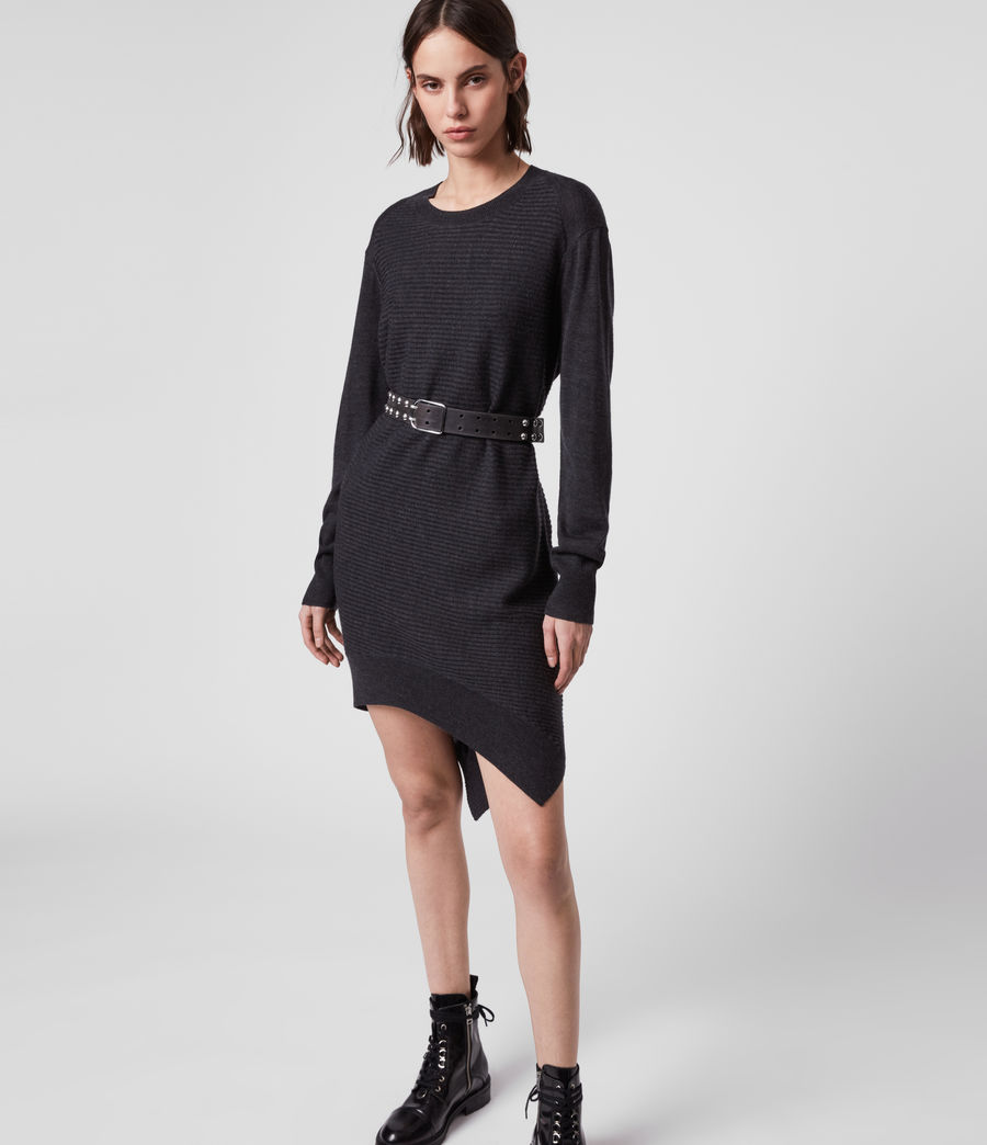 Womens Baya Merino Wool Dress (cinder_black_marl) - Image 4