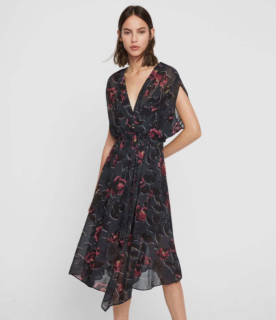 Femmes Robe Florale Romina Rosalyn (washed_black) - Image 1
