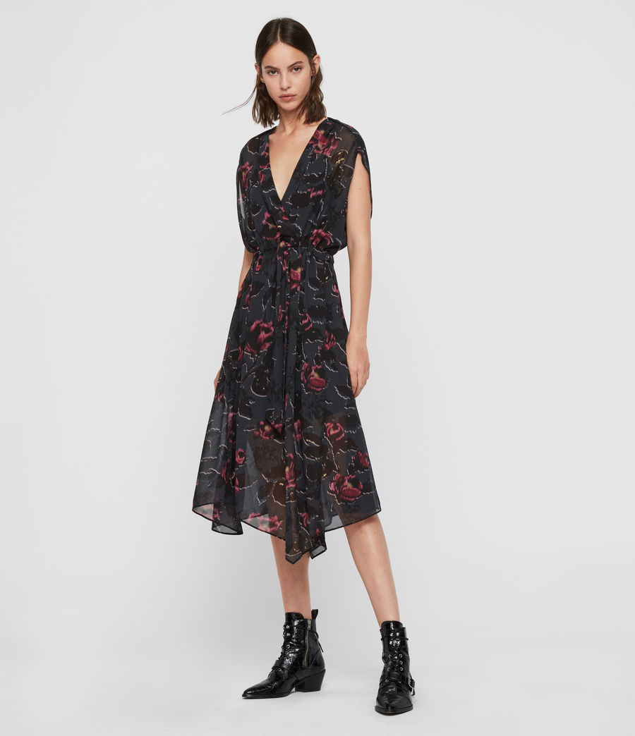 Femmes Robe Florale Romina Rosalyn (washed_black) - Image 3