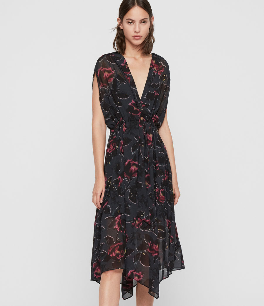 Femmes Robe Florale Romina Rosalyn (washed_black) - Image 4