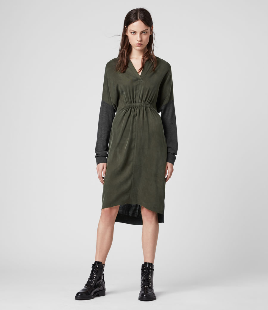 Womens Lorca Dress (charcoal_dk_green) - Image 1