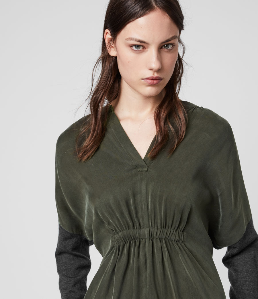 Women's Lorca Dress (charcoal_dk_green) - Image 2