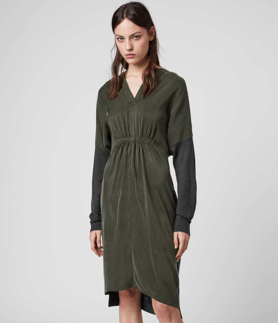 Women's Lorca Dress (charcoal_dk_green) - Image 3
