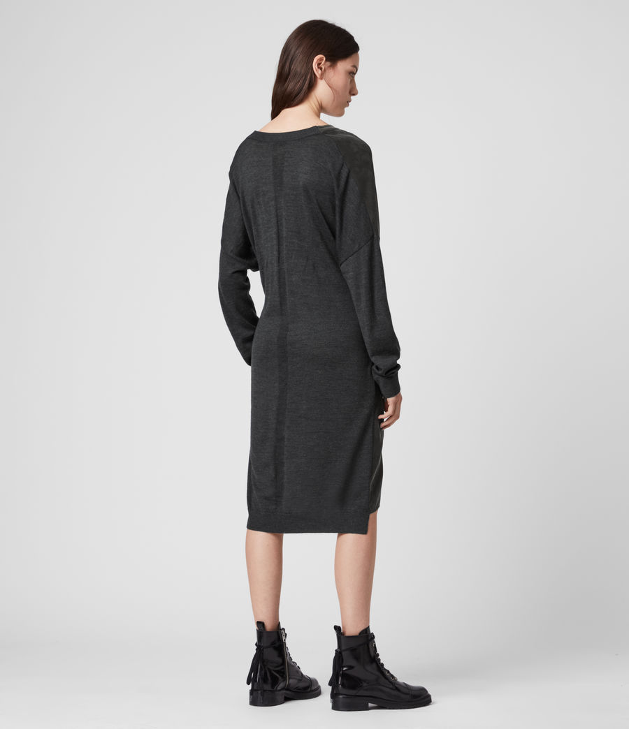 Women's Lorca Dress (charcoal_dk_green) - Image 4