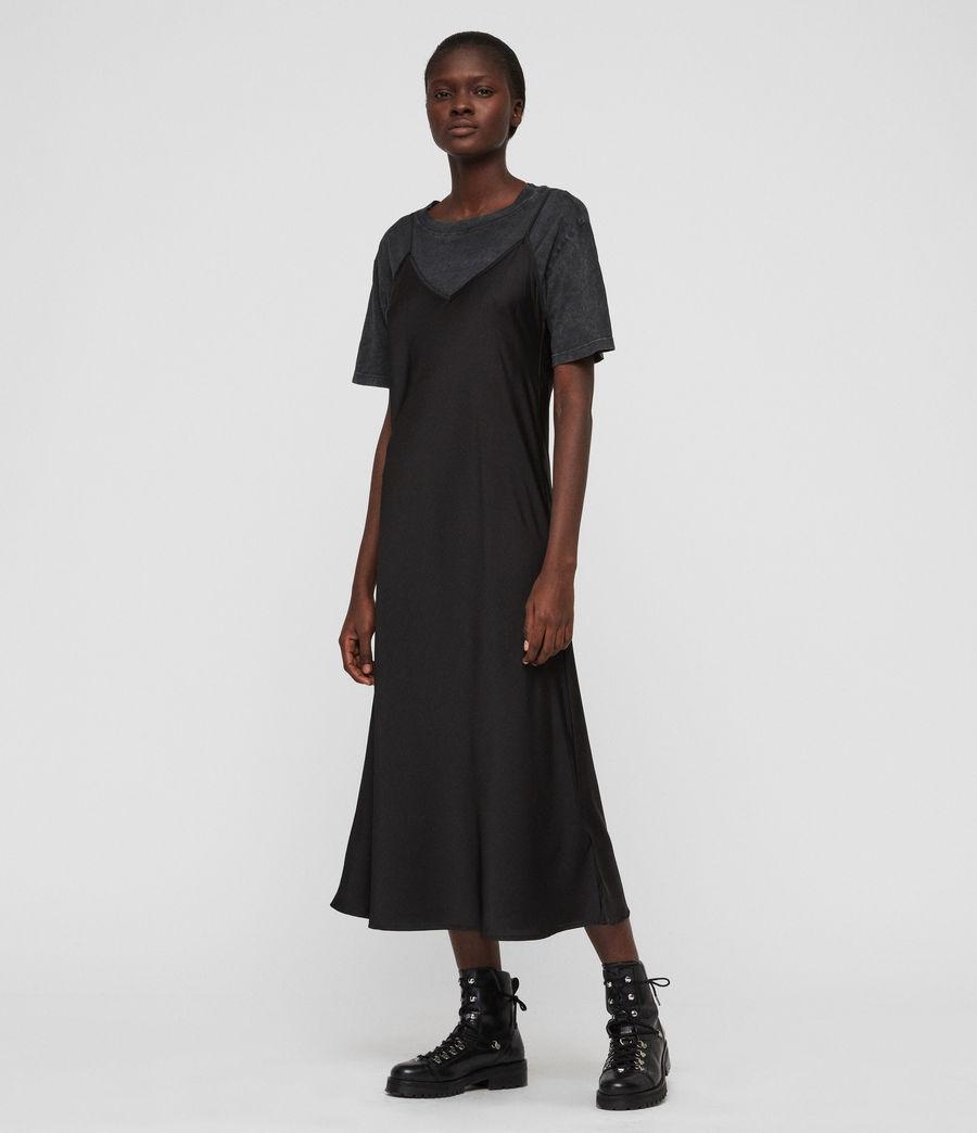 Womens Benno T-Shirt Dress (acid_wash_black) - Image 1