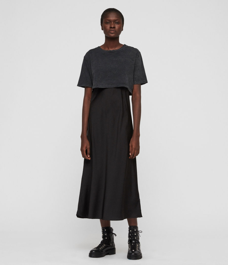 Womens Benno T-Shirt Dress (acid_wash_black) - Image 5