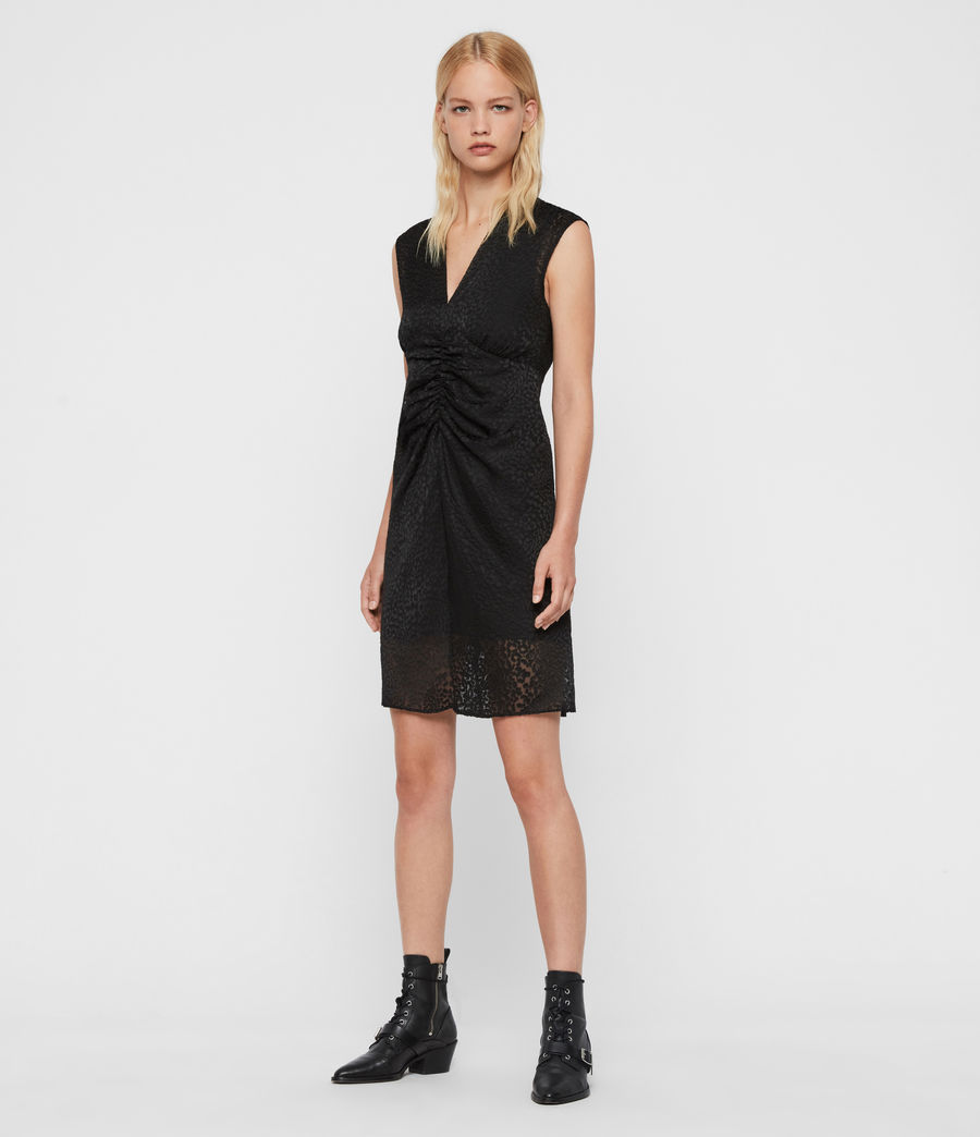 Womens Aldine Leopard Dress (black) - Image 3