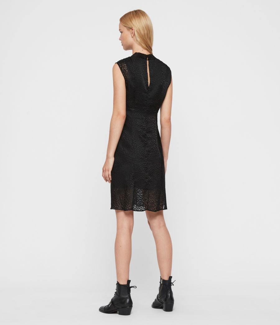 Womens Aldine Leopard Dress (black) - Image 5
