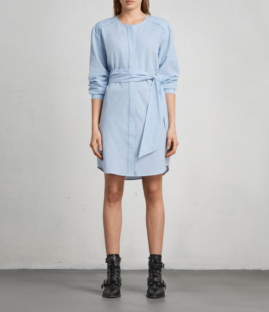 Women's Camille Shirt Dress (BLUE/CHALK STRIPE) - Image 1