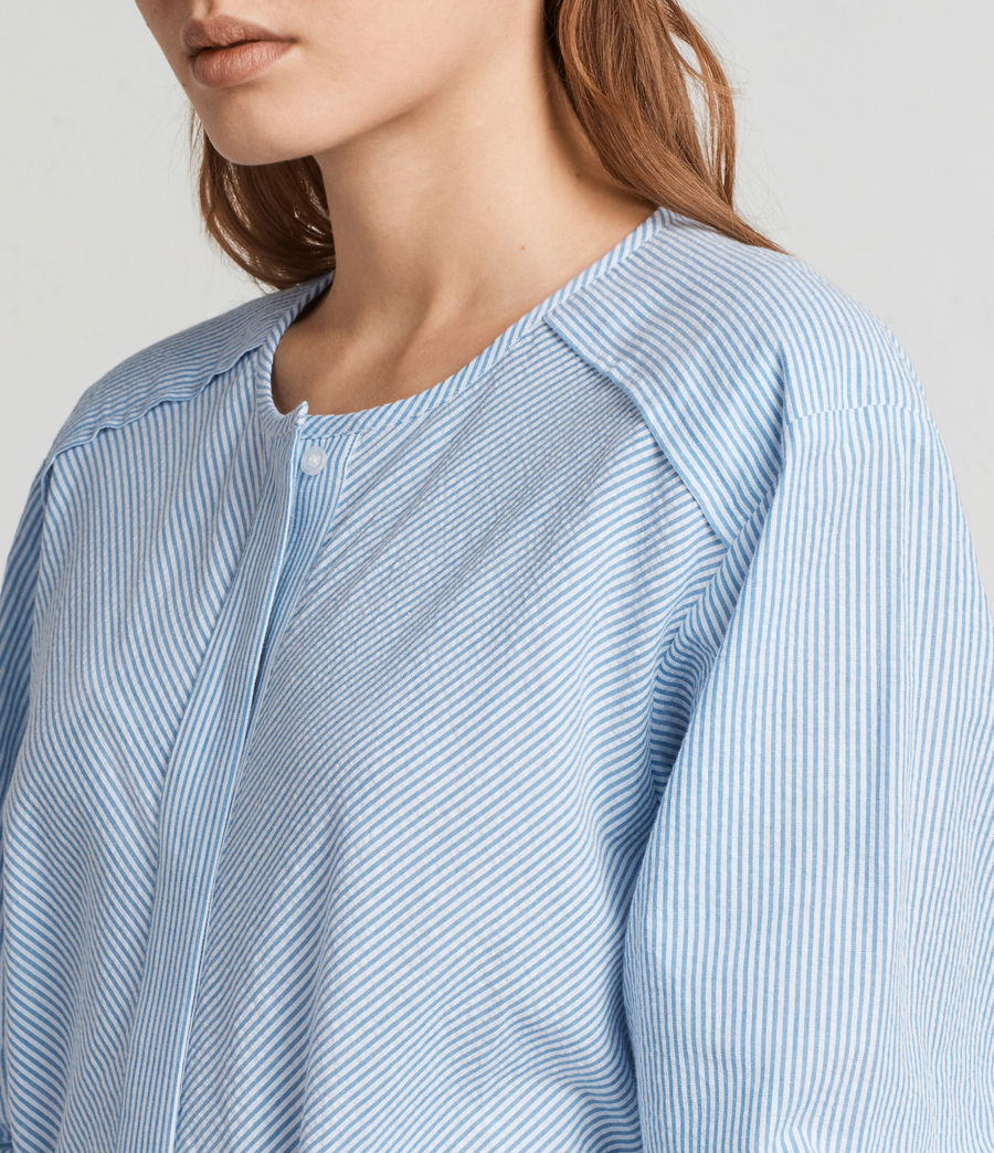 Women's Camille Shirt Dress (BLUE/CHALK STRIPE) - Image 2