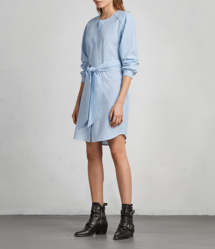Women's Camille Shirt Dress (BLUE/CHALK STRIPE) - Image 3