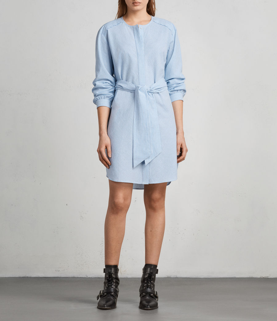 Women's Camille Shirt Dress (BLUE/CHALK STRIPE) - Image 6