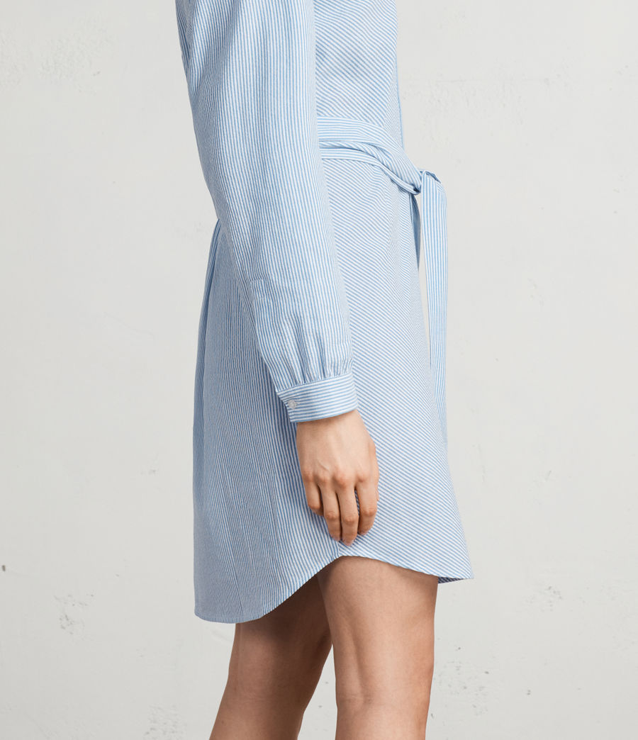 Women's Camille Shirt Dress (BLUE/CHALK STRIPE) - Image 7