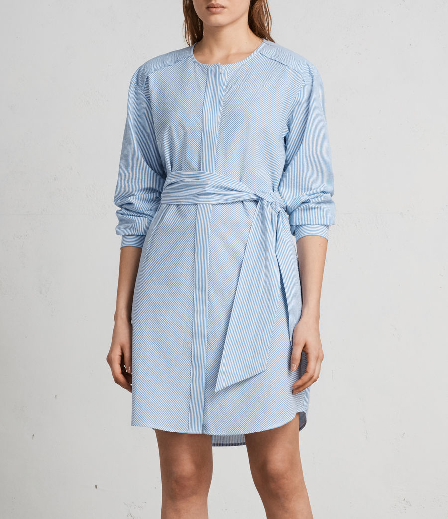 Women's Camille Shirt Dress (BLUE/CHALK STRIPE) - Image 8