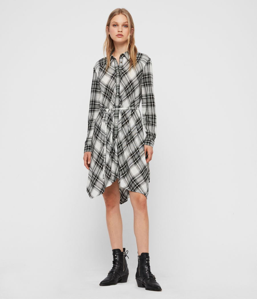 Womens Tala Check Dress (black_ecru_white) - Image 1