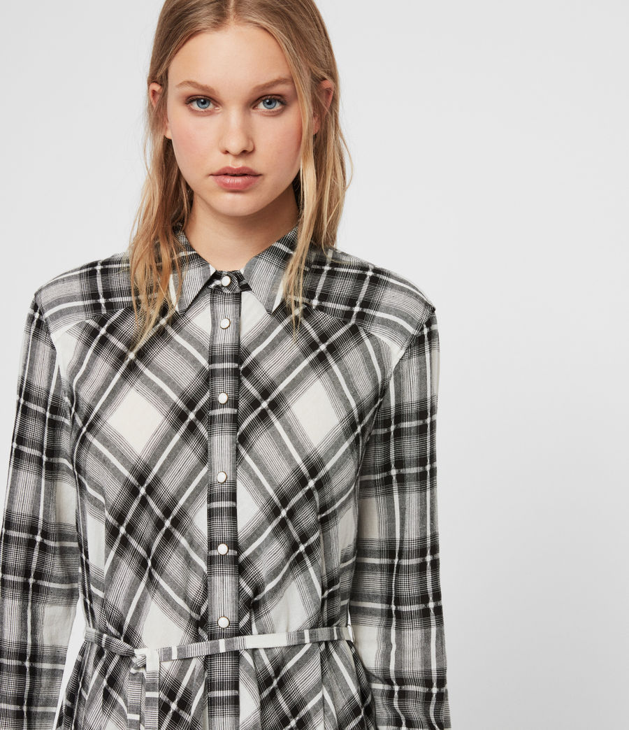 Womens Tala Check Dress (black_ecru_white) - Image 2