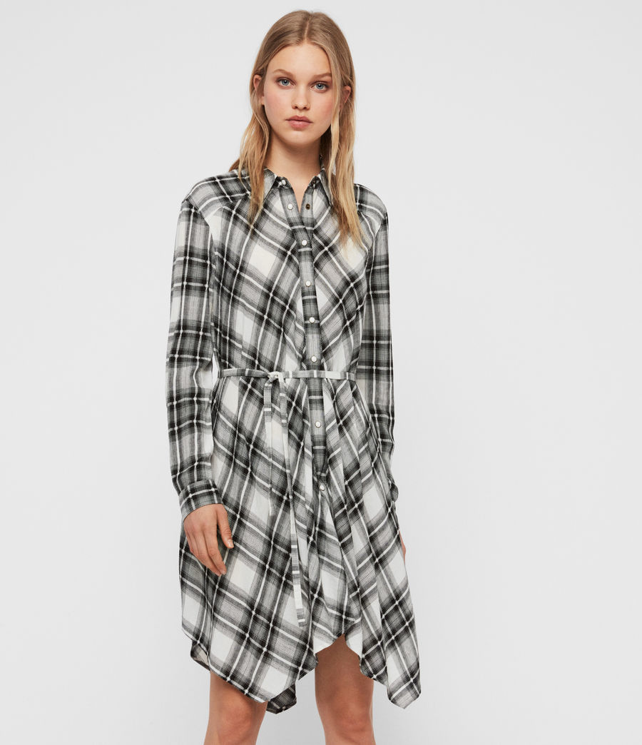 Womens Tala Check Dress (black_ecru_white) - Image 3