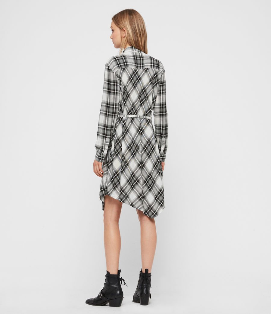 Womens Tala Check Dress (black_ecru_white) - Image 4