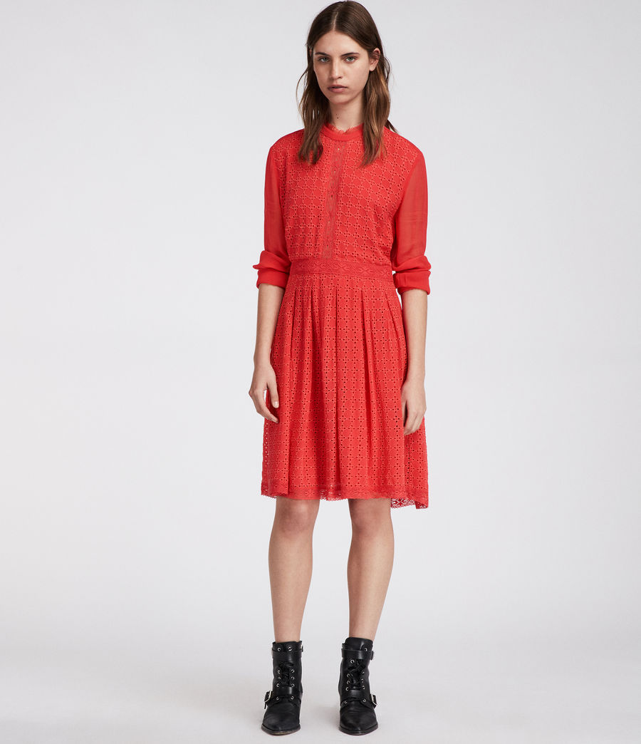 Women's Lilith Dress (coral_red) - Image 1