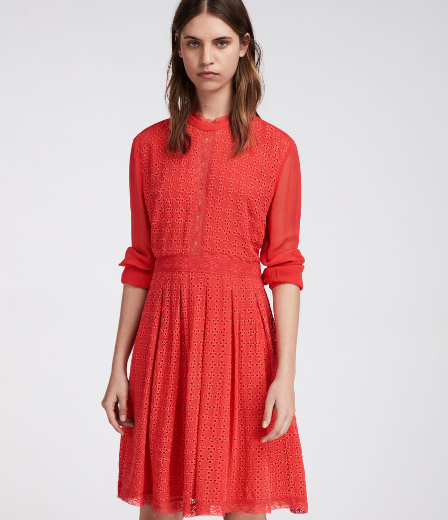 Women's Lilith Dress (coral_red) - Image 2