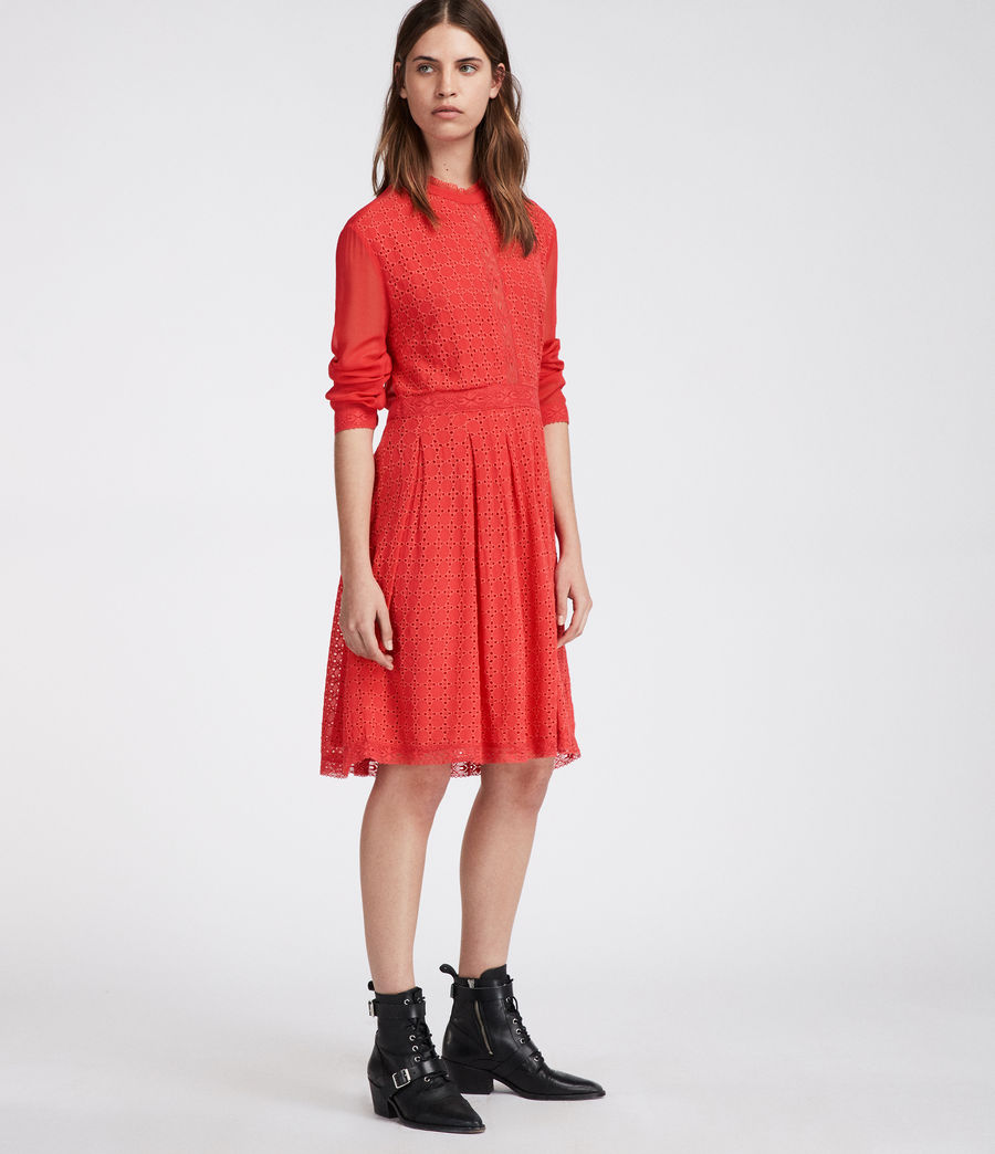 Women's Lilith Dress (coral_red) - Image 4