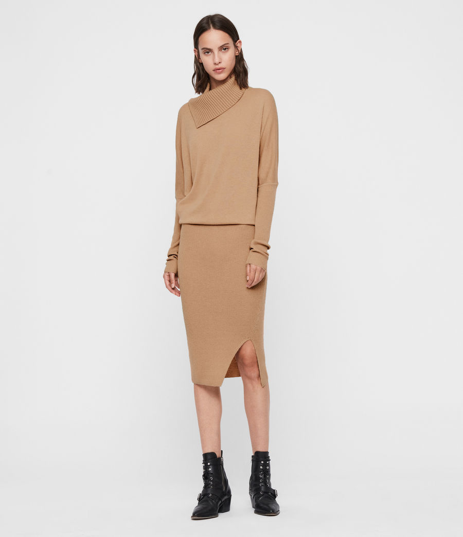 Women's Sofi Cashmere Blend Dress (toffee_brown) - Image 1