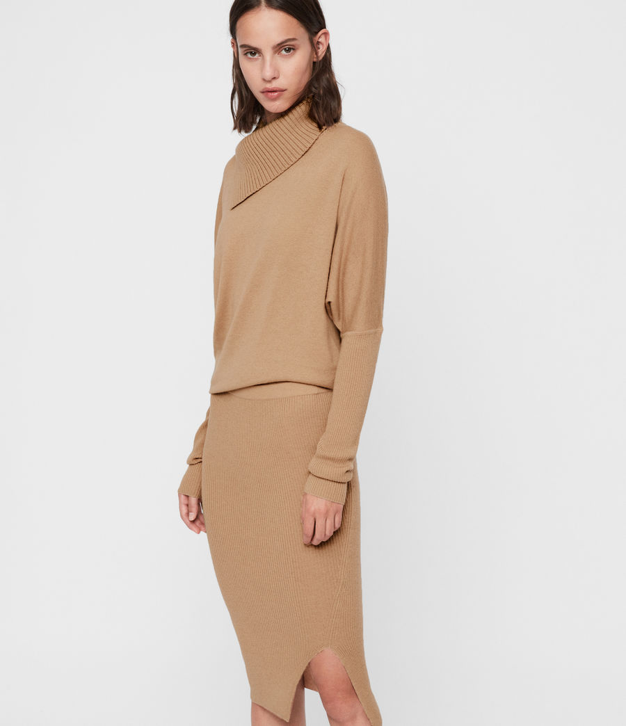 Women's Sofi Cashmere Blend Dress (toffee_brown) - Image 3