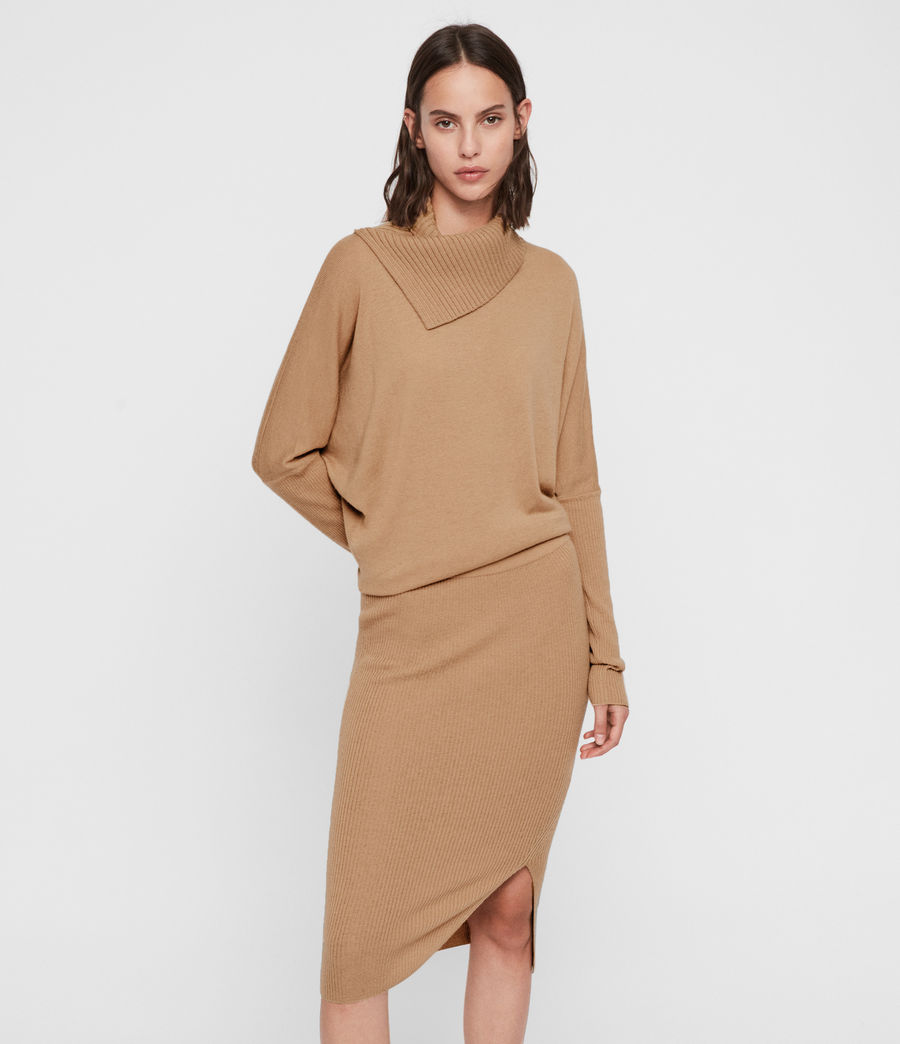 Women's Sofi Cashmere Blend Dress (toffee_brown) - Image 4