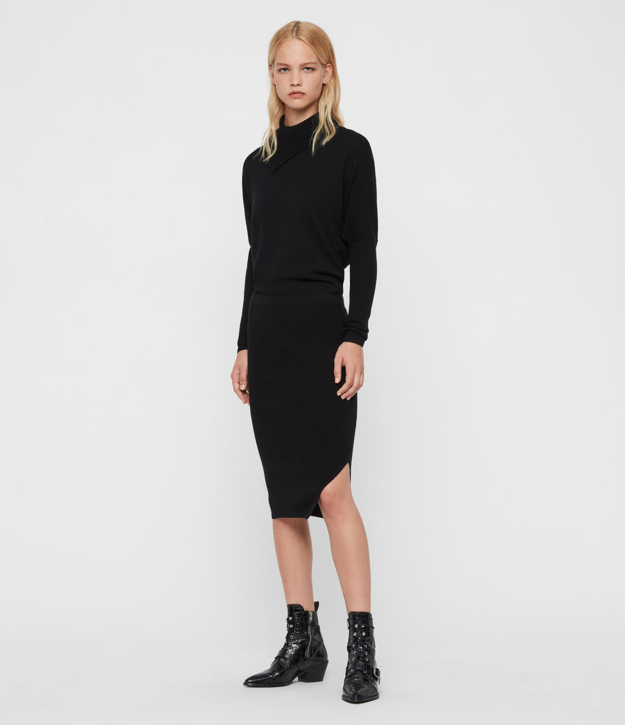 Womens Sofi Cashmere Blend Dress (black) - Image 3