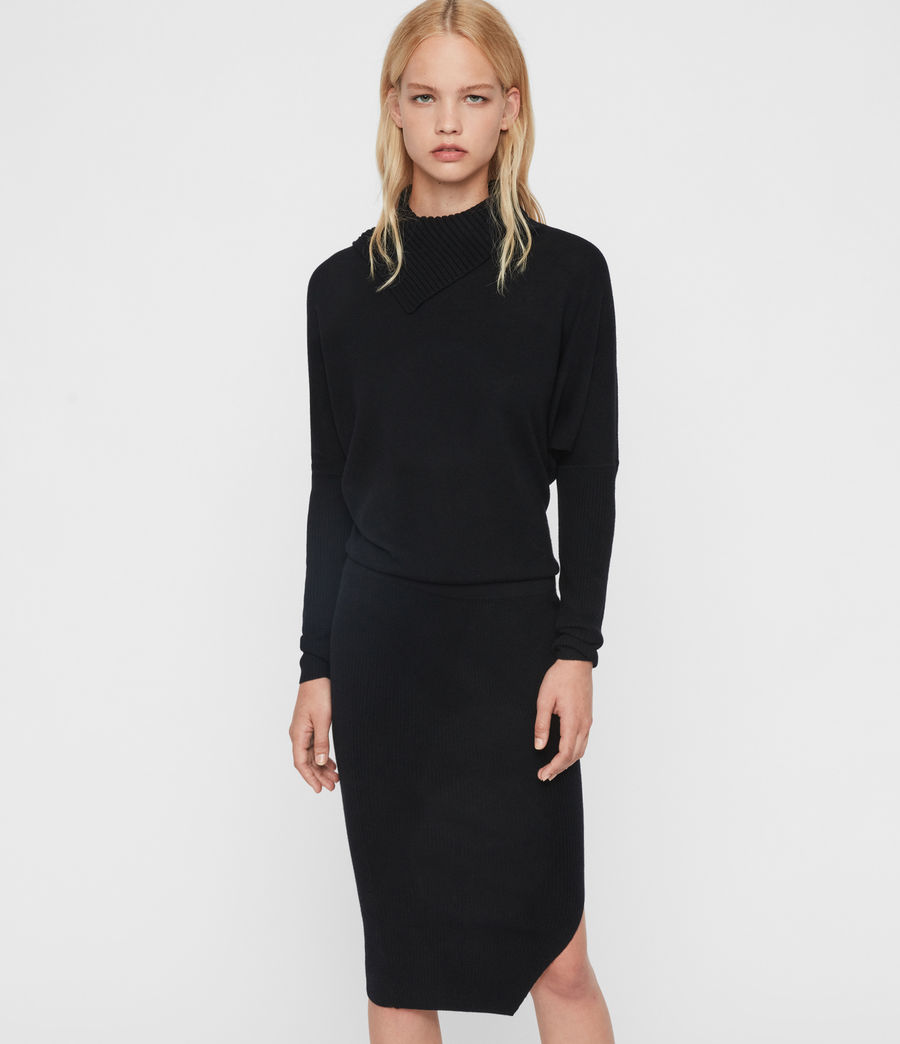 Womens Sofi Cashmere Blend Dress (black) - Image 5