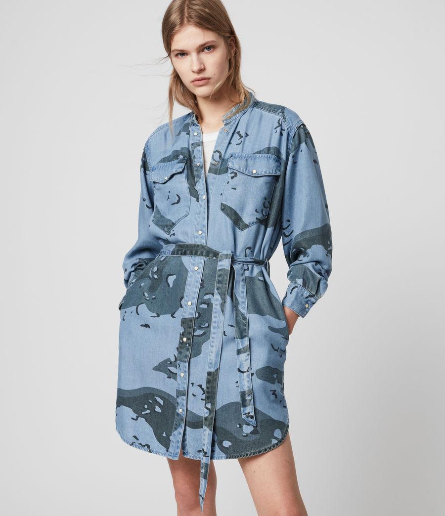 Womens Kat Camo Denim Dress (camo_blue) - Image 1