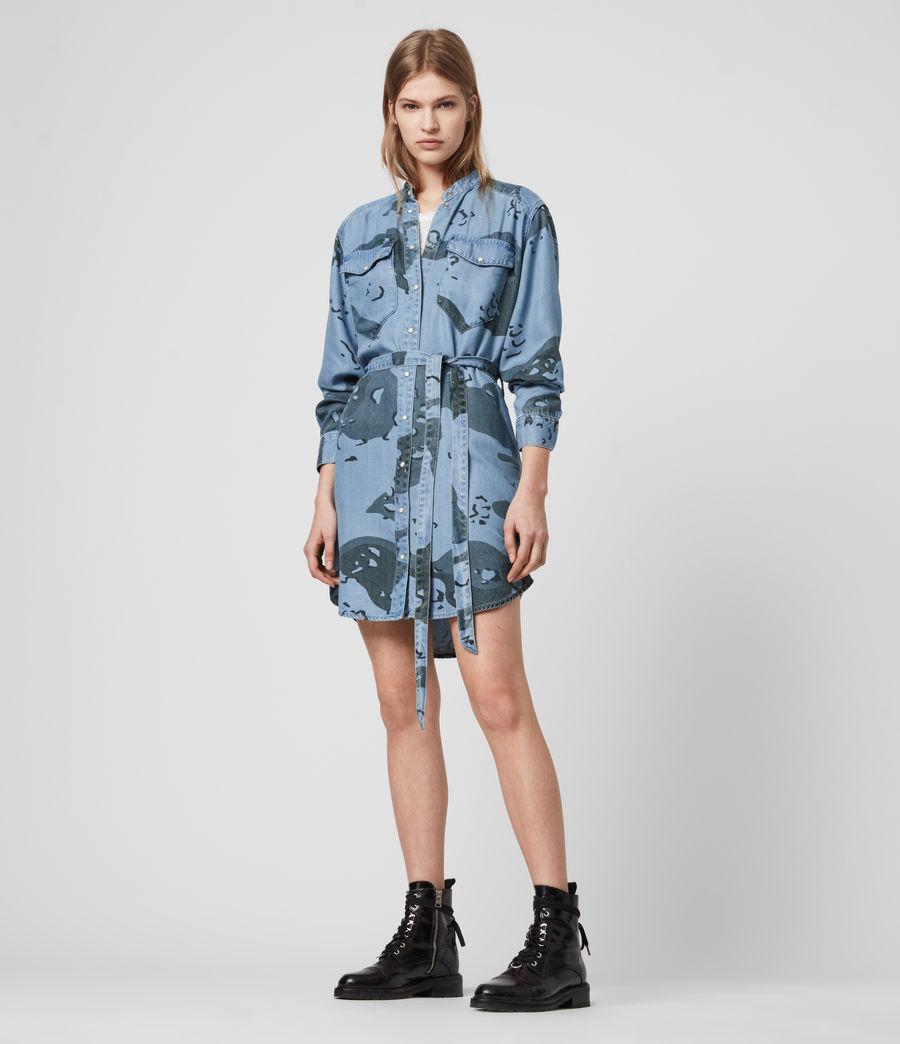 Womens Kat Camo Denim Dress (camo_blue) - Image 4