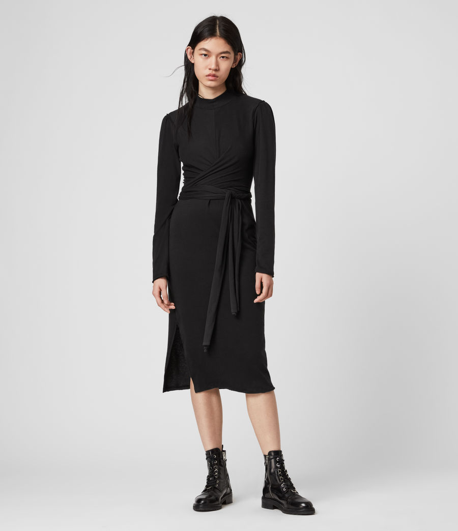 Mujer Vestido de Manga Larga Veronika (black) - Image 1