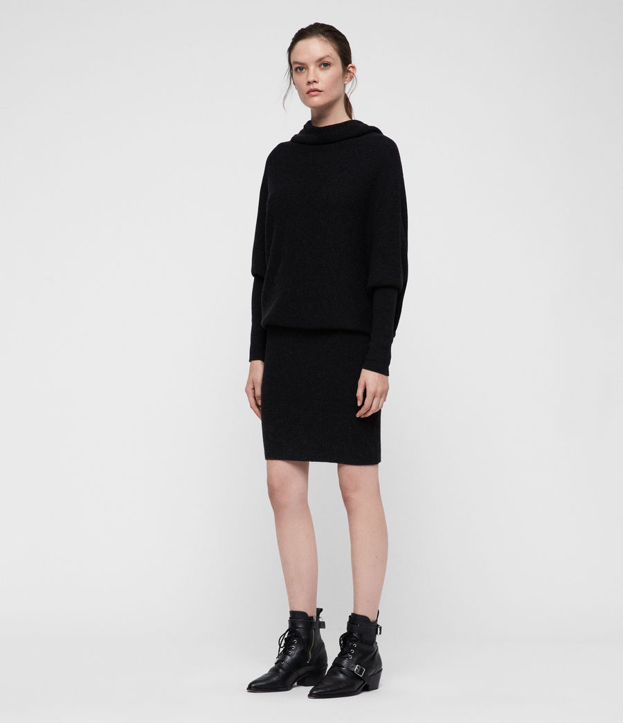 Women's Ridley Cowl Dress (cinder_black_marl) - Image 1
