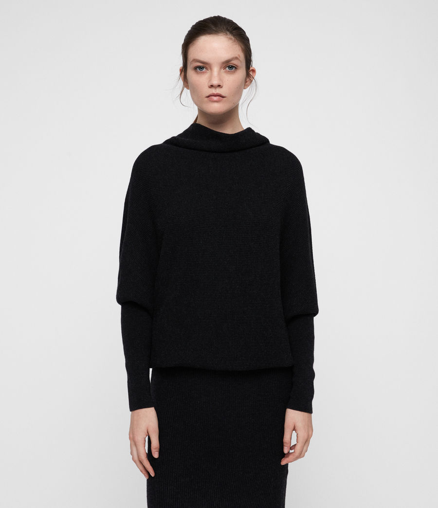 Women's Ridley Cowl Dress (cinder_black_marl) - Image 5