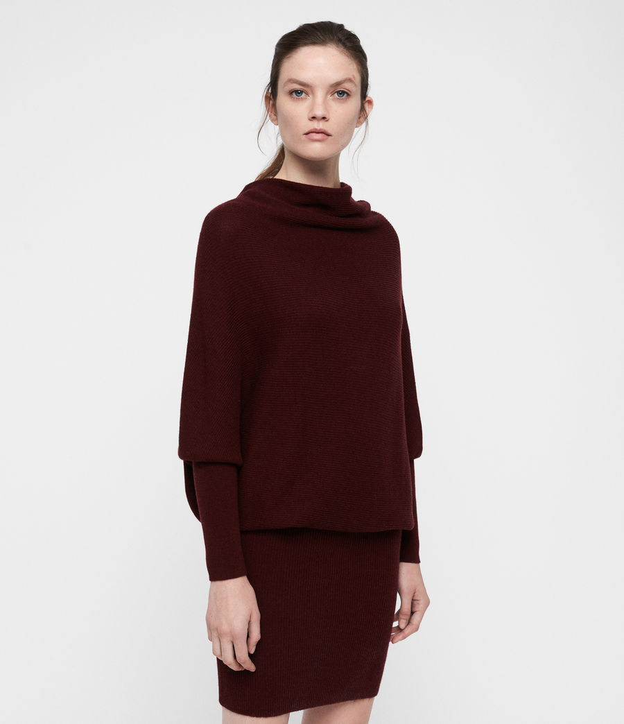 Women's Ridley Cowl Dress (dark_rust_red) - Image 1