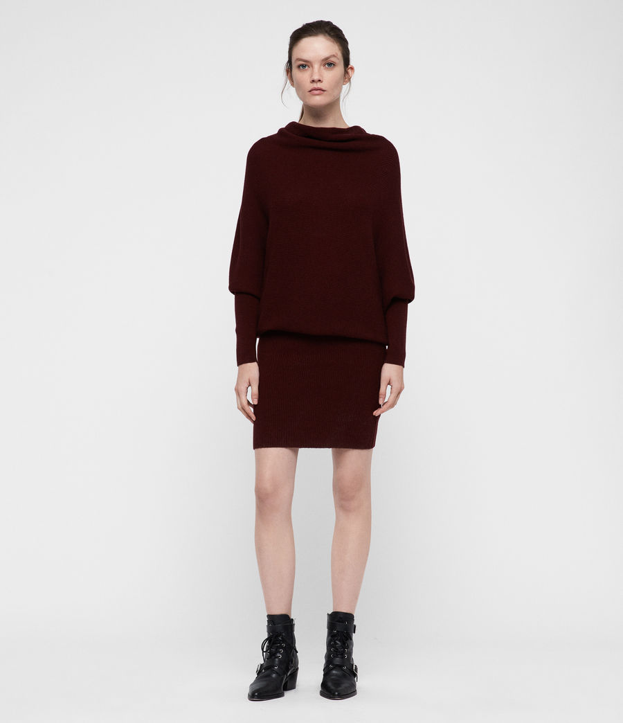 Women's Ridley Cowl Dress (dark_rust_red) - Image 3