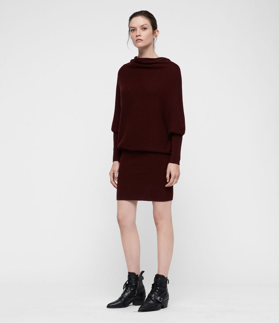 Women's Ridley Cowl Dress (dark_rust_red) - Image 4